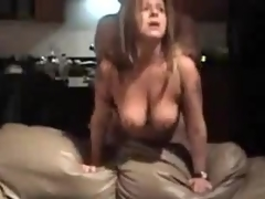 Mature bitch near large natural billibongs is fucked from behind, her fellow is rough near her.