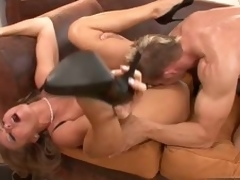 Sexy Dyanna Lauren gets her pink soaked cum-hole fucked by a massive hard cock