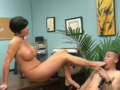 Eric Jover is ordered by voluptuous Shay Fox to suck her hot foot after lusty foot job