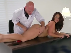 Brunette Samm Rosee receives her mouth stretched by Johnny Sinss sturdy thud rod