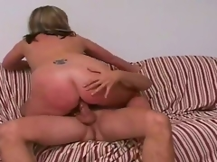 Tall blonde man Jay with sexy body and long disturb hard cock receives seduced by full figured blonde cougar Marie with gigantic juicy tits and cheep sales talk on lower back.