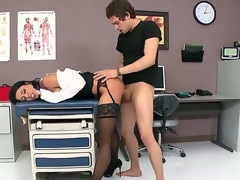 Black haired cyclone Jessica Jaymes with large fake gut and arousing heavy make up in underware and white coat gets licked pierced minge pleasurable by Xander Corvus in hawt fantasy.