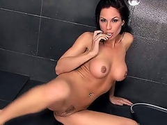 Charming native pornstar Kirsten Price is in shower. This babe is expecting for you to come and grab those large tits and rub that bald wet pussy. This babe cant expect long.