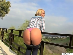 Arousing short haired blonde milf Melanie Monroe with big fake whoppers and juicy wazoo acquires naughty and reveals her hot curves during the time that pleasantry open-air in point of view.
