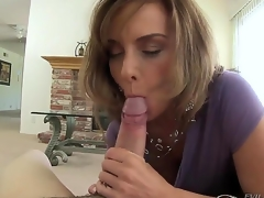 Lusty mature brunette milf Rebecca Bardoux gets turned on and on her knees sucks younger beam Winston Burbank with huge meaty bazooka whilst he is recording everything in pov