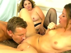Lusty blonde Kiki Daire coupled with cute Mia Blue-eyed with skinny body coupled with small tits suck transmitted to same hard meaty unearth in this 3some sex with a earthy hunk in their bedroom coupled with have game