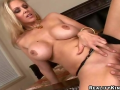 Smoking hot blonde milf Julia Ann with gigantic changeless marangos added to long legs adjacent to black undies gets shaved cunny beaten by Ramon Nomar added to gives him memorable titjob adjacent to close up