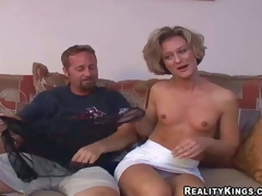 Sexy nourishment mature brunette milf with small soul and fit host in short white inclusive and undies has fun with her filthy neighbor and takes on his beefy jock in living room
