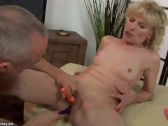 Naked mature blonde Margarette spreads say no to legs wide and receives say no to fur pie stimulated with the help of three vibrators. This babe receives squirting big O after unthinkable fur pie stimulation