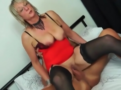 Mature honey close to red underware rides boner