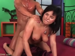 Dude is super sweaty from fucking a sexy milf