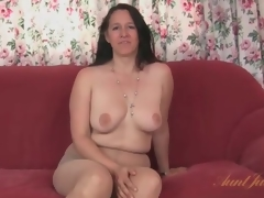 Chunky milf strips distance from her dress and pantyhose