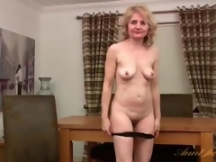 Purple kit is arousing on mature blond