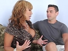Busty mommy whacking big head to her son's friend