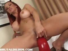 Shannon riding a humongous peppery brutal dildo