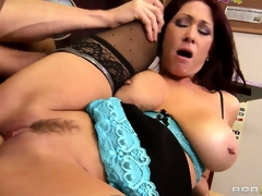 Teacher with mammoth knockers rides greater than a cock with her wet cunt