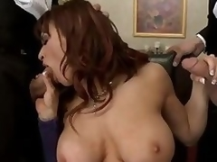 Lewd big titted milf Devon Michaels gets surrounded hard by 2 elegant gentlemen that pull parts their meaty cocks for her. Se eats their dicks and hale gets say no roughly pussy slammed hard by twosome of these big poles.