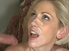 Kasey Grant gets facial spunk fountain-head