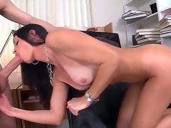 Seductive MILF India Summer munches on a giant boner before receiving it with her dripping moist bawdy cleft