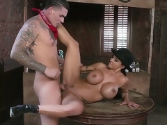 Busty milf Gems Jade enjoys young blot out Clover fucking her tight pussy