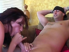 Whorish brunette milf Ariella Ferrera with massive action melons gets nailed coarse unconnected with tattooed dude in close up