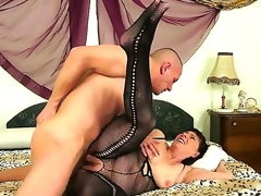 Aged lady with hairy blast c enlarge Margo T. can not calm her passion and seduces young neighbor