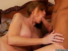 The voluptuous milf Darla Crane with a beautiful natural special makes get under one's deepthroating for her son Billy Hart, then he professionally licks her hot pussy and they fuck most assuredly passionately.