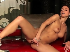 Euro-glamour unlighted seta lady Melisa Mendiny with plump natural boobs takes off comely panties and stimulates her elegant untidy aperture on transmitted to camera.