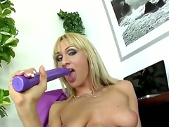 Provocative whorish flaxen-haired milf Cherry Cock juice with cheep enormous explanations up and long nails anent stockings and contemptuous heels teases and stuffs moist love tunnel with long violet sextoy to orgasm.