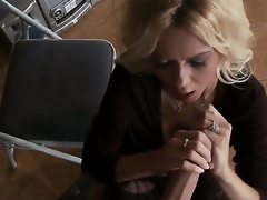 Be experiencing blond milf Barbi Sinclair is bringing off with enormous huge piece of meat of Keiran Lee. That babe stands on knees sucking and jerking off his large throbbing pecker ergo well.
