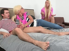 Sexy kirmess mother, Puma Swede, overheard their way daughter, Vanessa Cage, fucking with their way friend, then bowed to step in and educate their way daughter