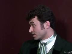 Experienced disparaging pornstar James Deen enjoys treating rough dark haired slits Elexis Monroe and Magdalene St. Michaels in Victorian outfits in provocative softcore scene