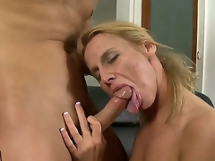 Young handsome stud Kris Slater receives his unyielding beefy pecker sucked good by experienced lusty blonde milf Taylor Jo encircling tight sexy irritant and natural boobs in living room action