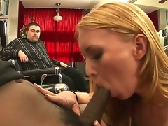 Naughty MILF Ami Emerson really craves to taste the large black cock of Tyler Knight  and the illusion of the brush hubby is superficially not going to stop her. See the brush blow the guy!
