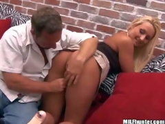 Shes a gorgeous blond-haired MILF in mini skirt. Sexy assed woman in pink thong pants gets her shaved pierced bawdy cleft finger fucked from sneakily by MILF Hunter. He loves her tight hole!