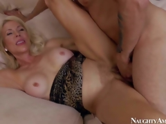 Lewd together with aroused blonde milf with big boobs Erica Lauren enjoys nigh seducing her young neighbour Mr. Pete together with getting her shaved bawdy cleft slammed hard on the bed nigh bedroom
