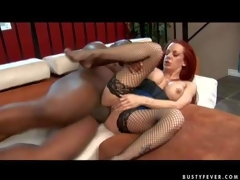 Experienced curvy redhead milf Shannon Kelly with big fake balloons plus bouncing arse concerning fishnet nylons acquires her shaved minge pounded hard wits tall black hunk to loud agonorgasmos
