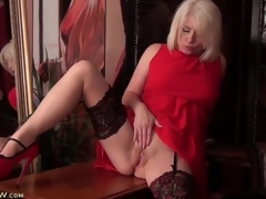 Stockings and sexy red suit on blonde milf