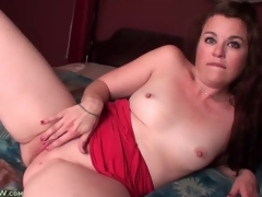 Cute solitarily mamma with closely-knit tits masturbates in sofa