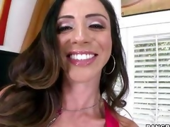 Smokin' hot Ariella Ferrera warms her pussy up by having an orgasm in suspended of the sh