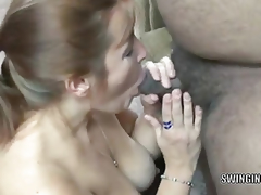 Curvy redhead mother I'd like to fuck Liisa is swallowing 2 inflexible dongs