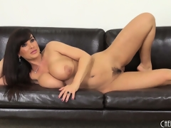 Lisa Ann gets on a difficulty floor to toy and back on a difficulty divan to pose