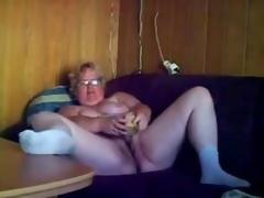 Great masturbation of horny granny