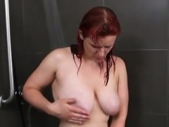 Busty dilettante milf masturbates in the shower