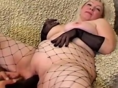 Grown up blonde Cynthia sucks a cock and lets the guy plaything her meaty cunt