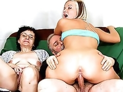 Senior Pair Fuck a Breathtaking Blond Teen Nigh a Hot Trio