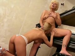 Aged music tutor Orhidea and her young student girl Bianka Enchanting licking pussies on the piano