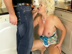Hawt granny named Effie shows her hairy pussy and gets a young dick far the mouth