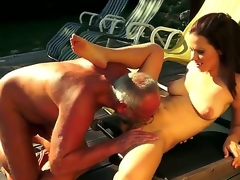 Cute babe Mira gives a steamy head on a mature before possessions her tight pussy licked and rammed outdoors