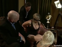 Mark Davis and Steve Holmes organize a party not far from their hot wives Sara Jay and Kait Snow, who are blindfolded, bound and dominated by these perverted men who double permeate them!